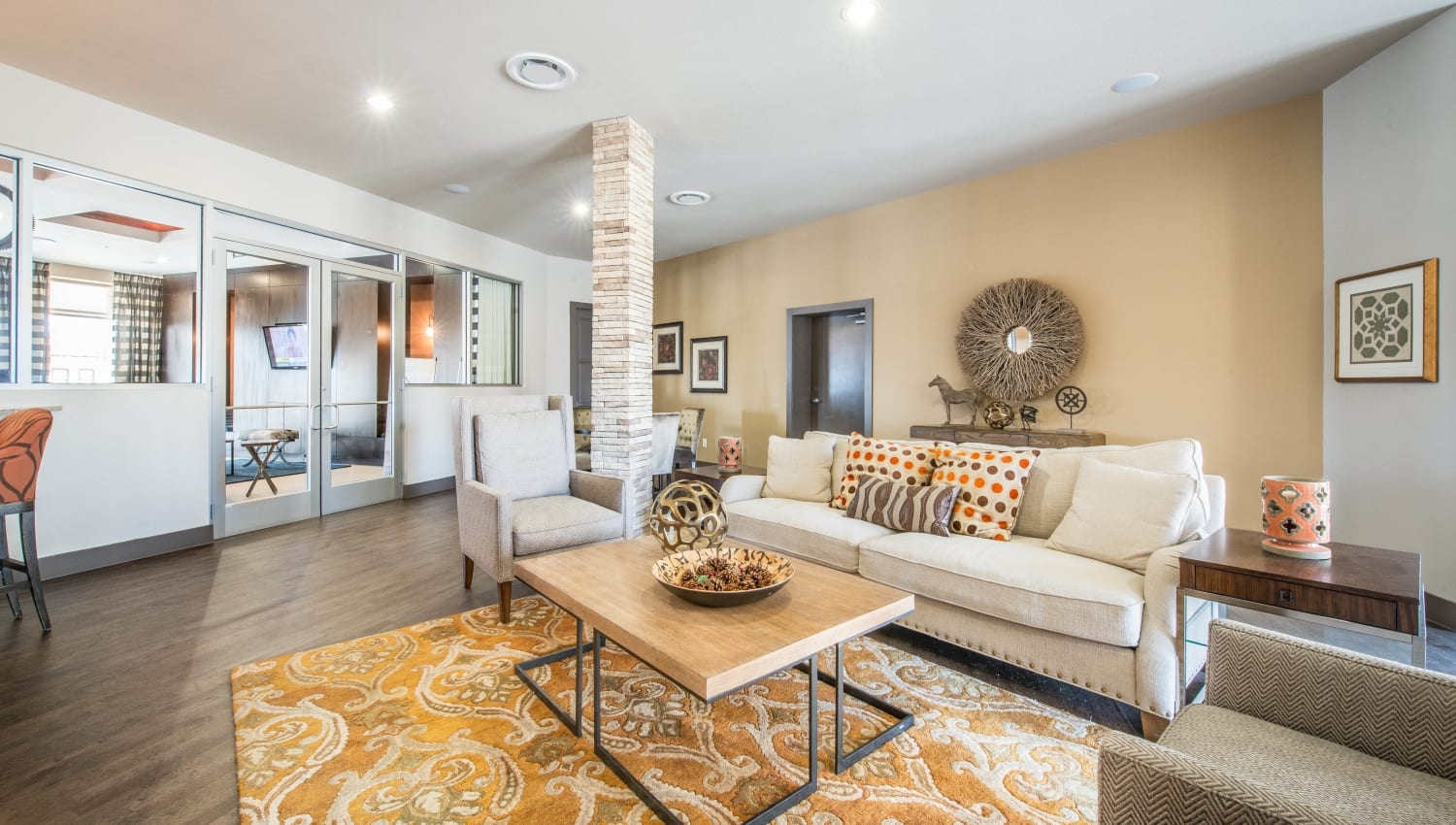Lounge areas to relax with your friends in the clubhouse at Union At Carrollton Square in Carrollton, Texas