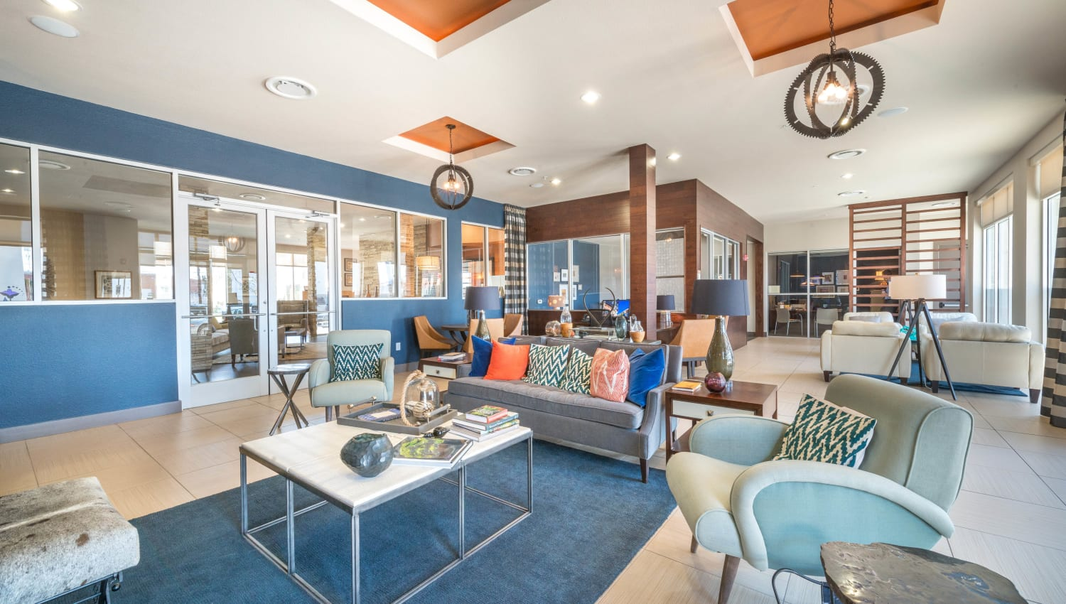 Great places to get to know your neighbors in the clubhouse at Union At Carrollton Square in Carrollton, Texas