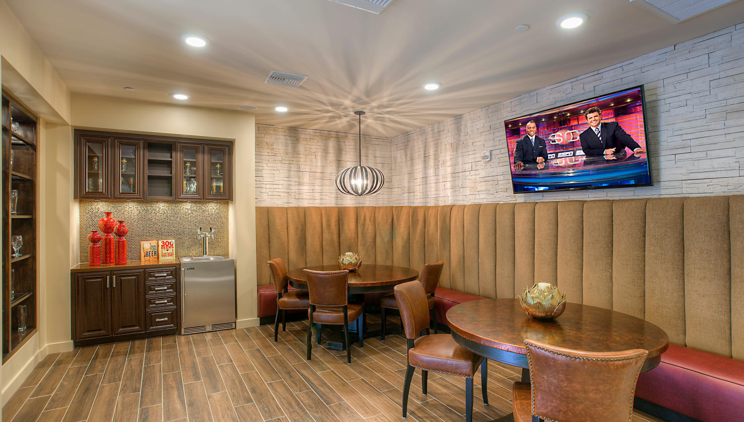 Great places to get to know your neighbors in the clubhouse at Vistara at SanTan Village in Gilbert, Arizona