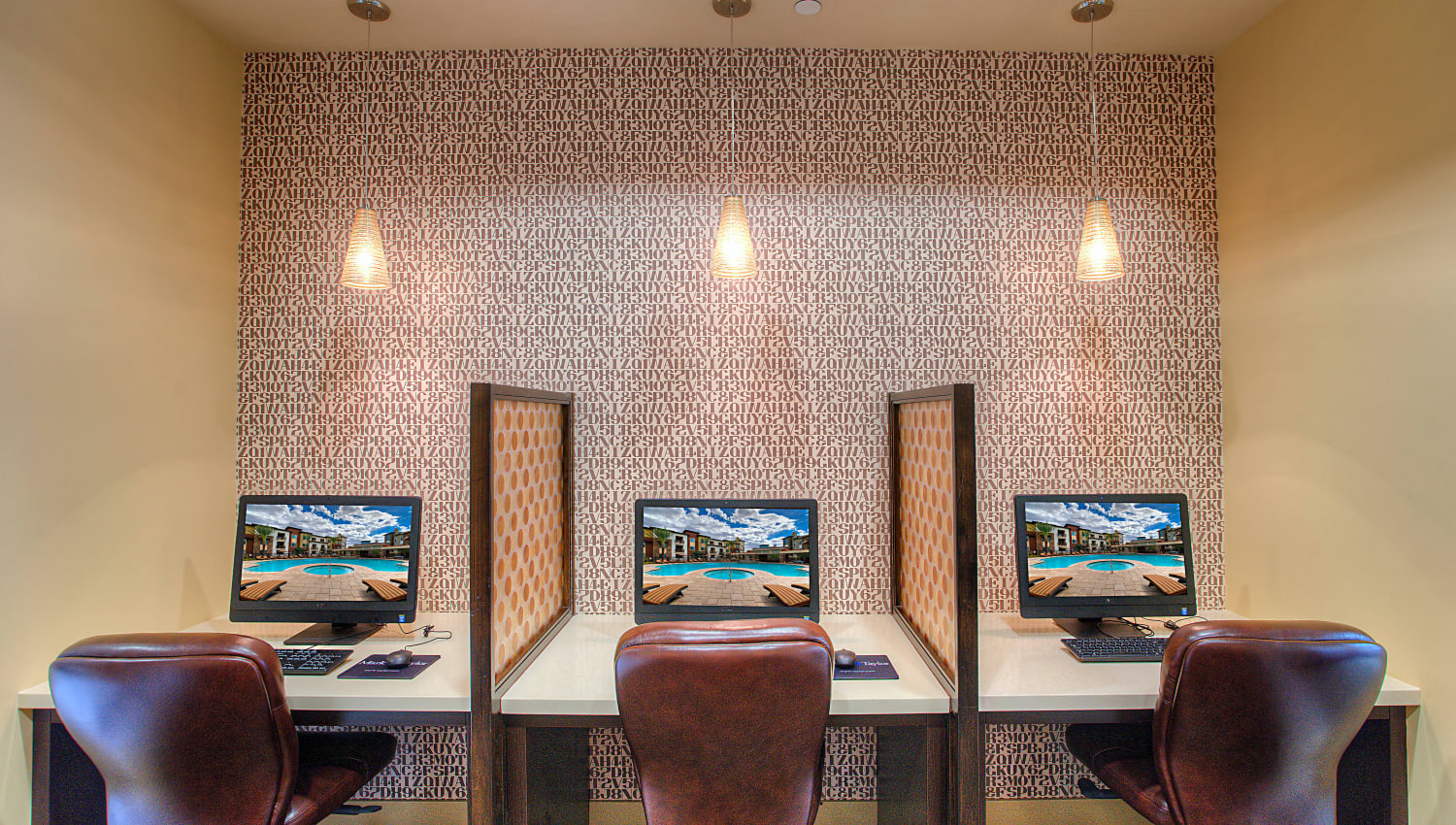 Computer workstations in the business center at Vistara at SanTan Village in Gilbert, Arizona