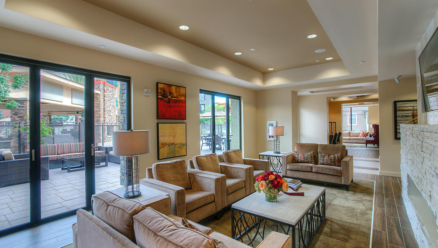 Lounge area in the lobby at Vistara at SanTan Village in Gilbert, Arizona