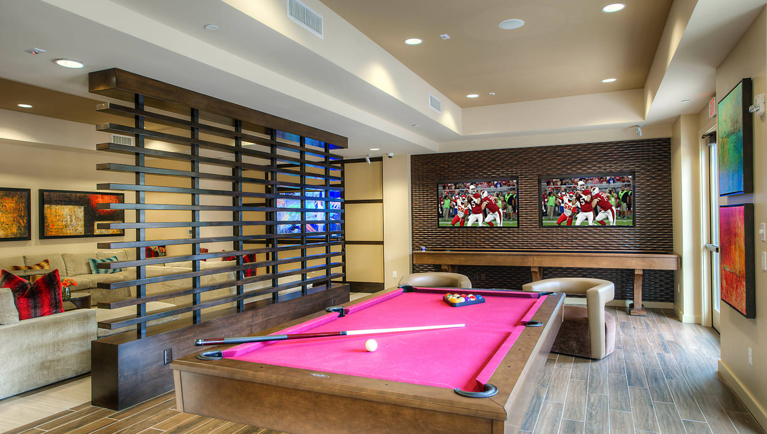Billiards table in the clubhouse game room at Vistara at SanTan Village in Gilbert, Arizona