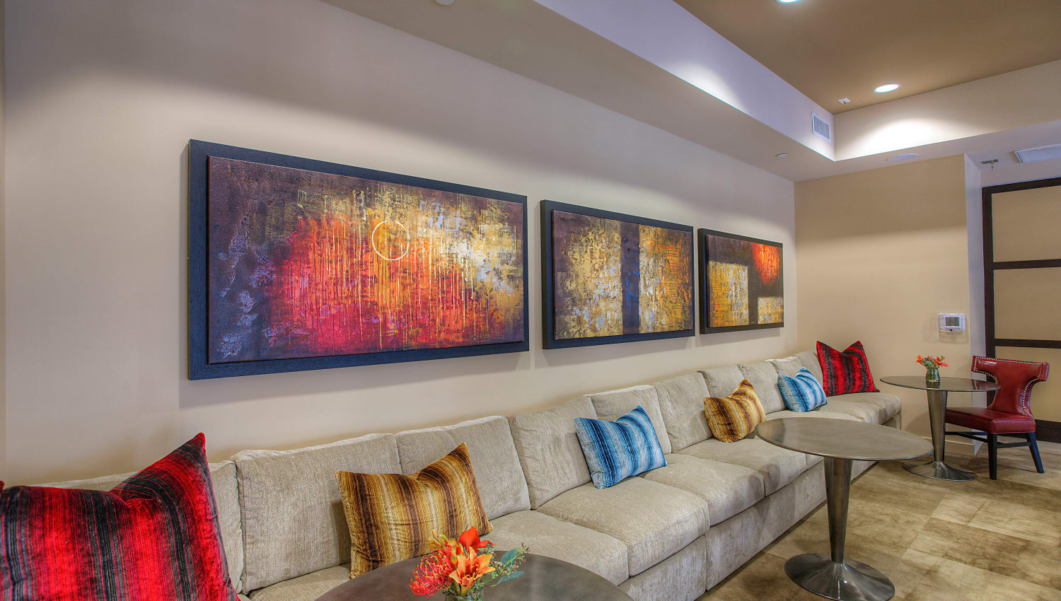 Modern art on the walls in the clubhouse at Vistara at SanTan Village in Gilbert, Arizona
