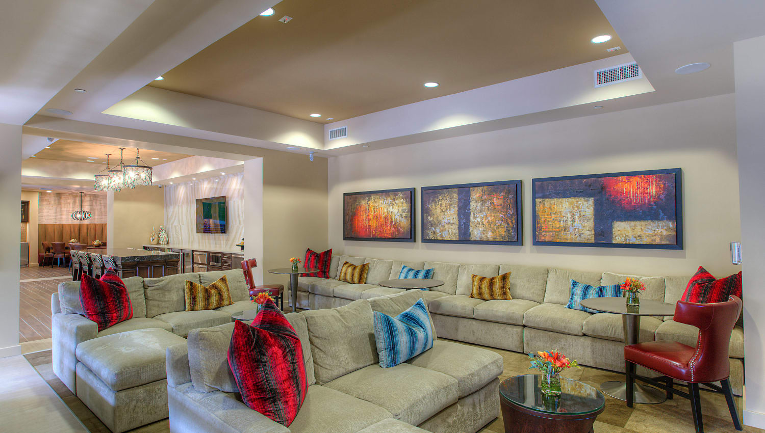 Colorfully decorated lounge area in the clubhouse at Vistara at SanTan Village in Gilbert, Arizona