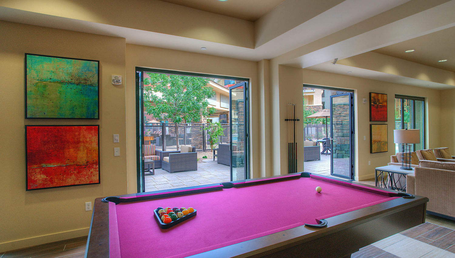 Billiards and more in the game room at Vistara at SanTan Village in Gilbert, Arizona