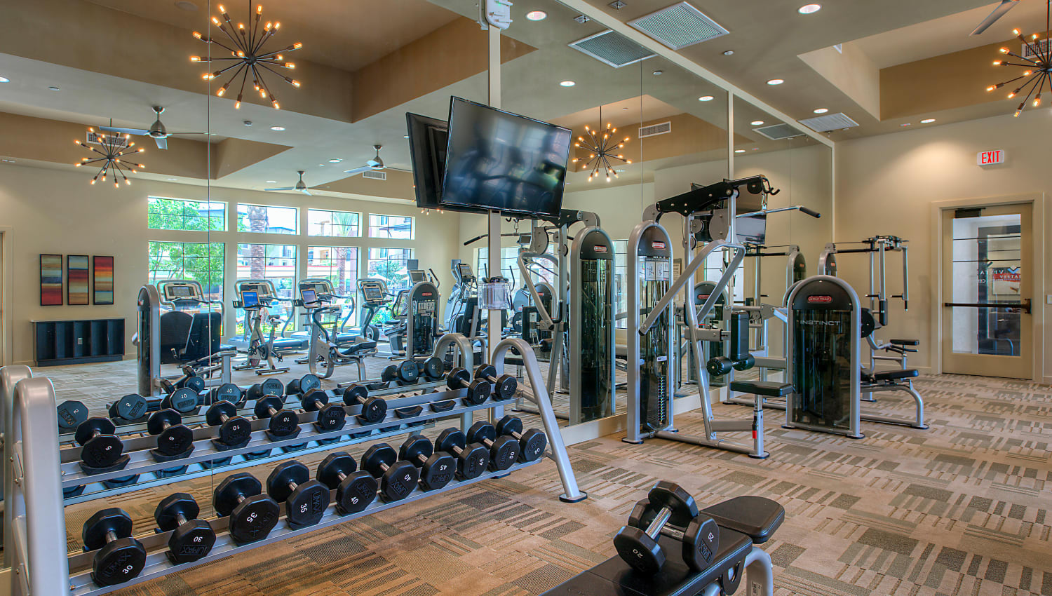 Well-equipped onsite fitness center at Vistara at SanTan Village in Gilbert, Arizona