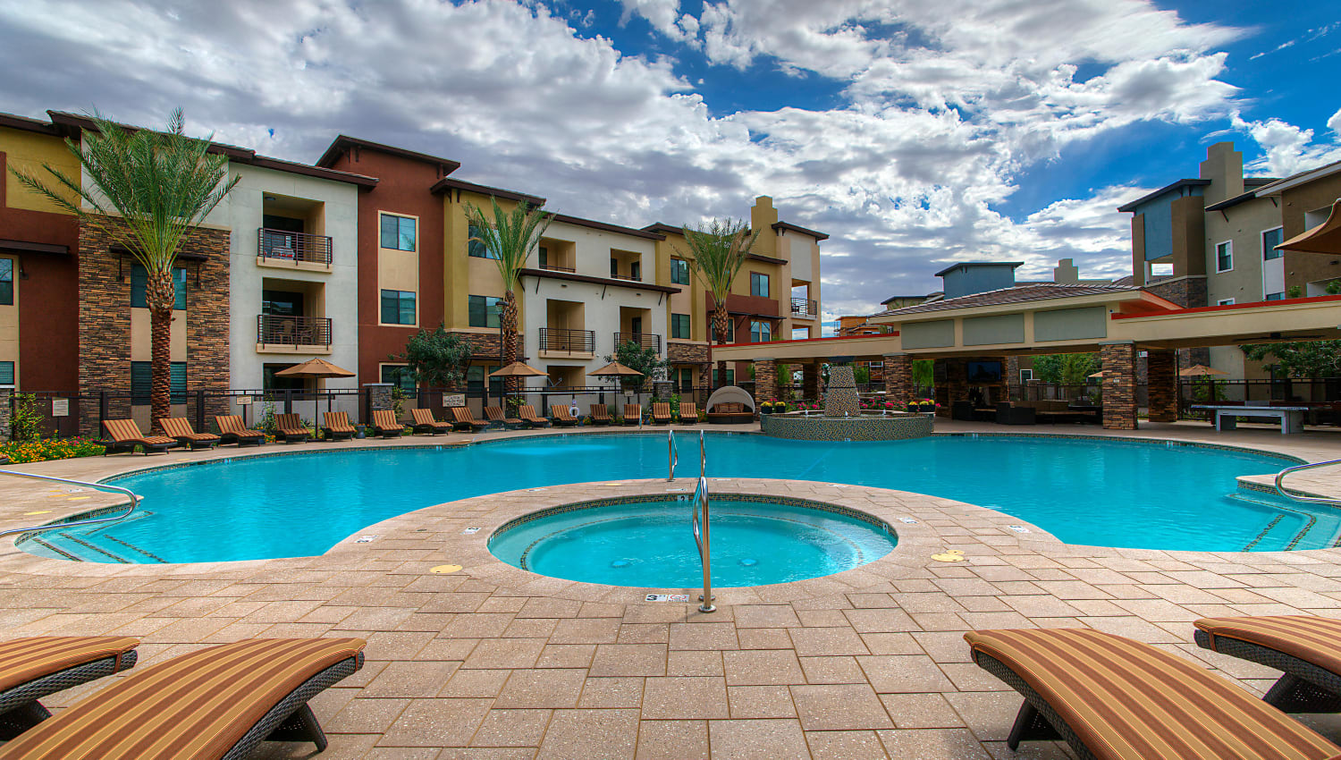 Spa and pool area at Vistara at SanTan Village in Gilbert, Arizona