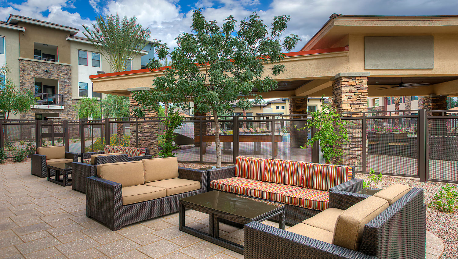 Outdoor lounge at Vistara at SanTan Village in Gilbert, Arizona
