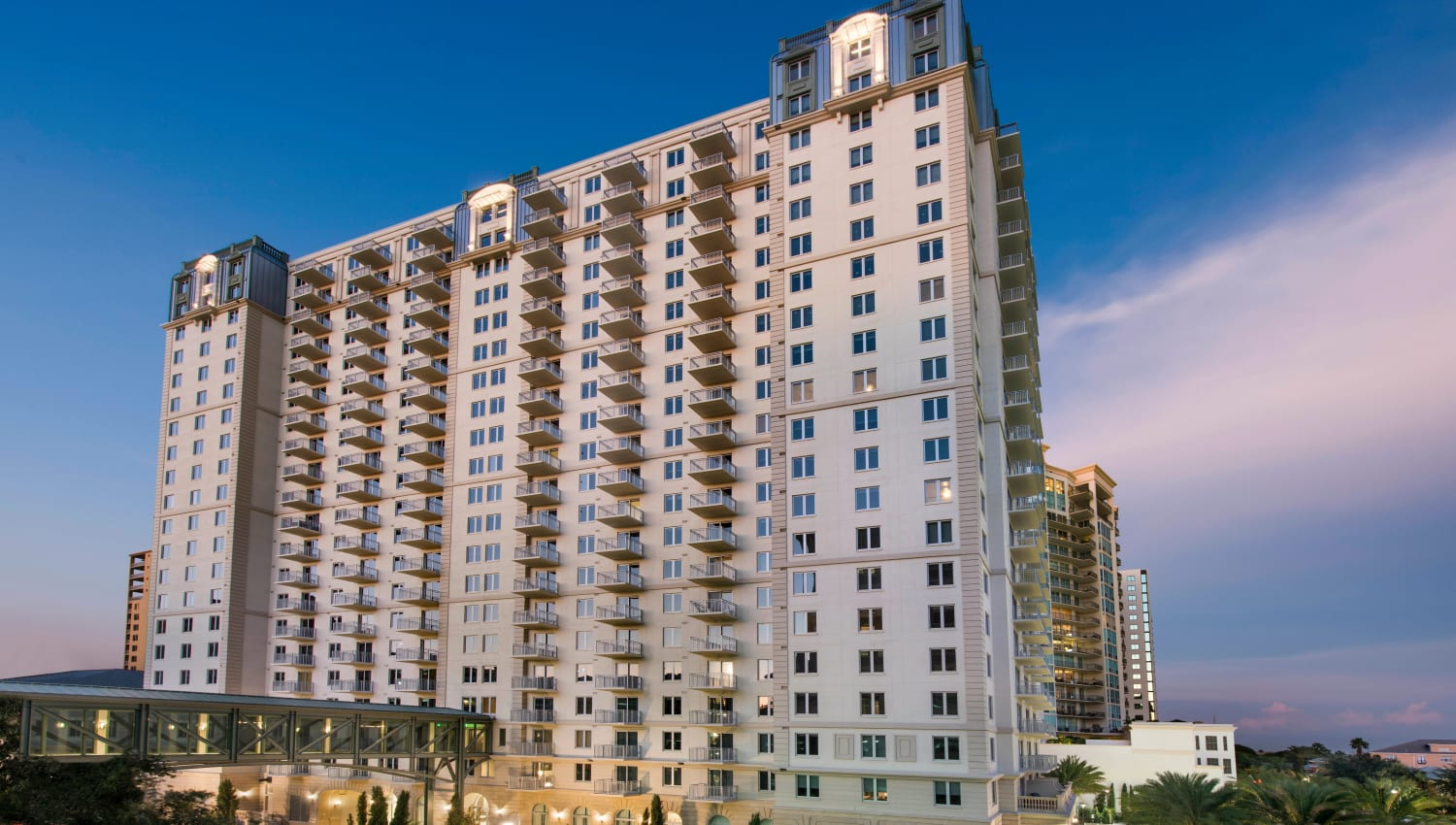 Exterior view of our luxury high-rise community at Olympus Harbour Island in Tampa, Florida