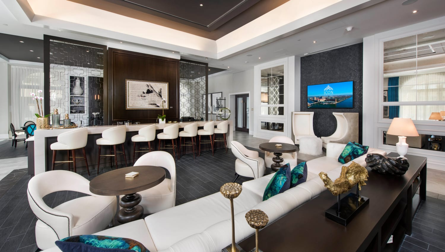 Large luxurious bar in the clubhouse lounge at Olympus Harbour Island in Tampa, Florida