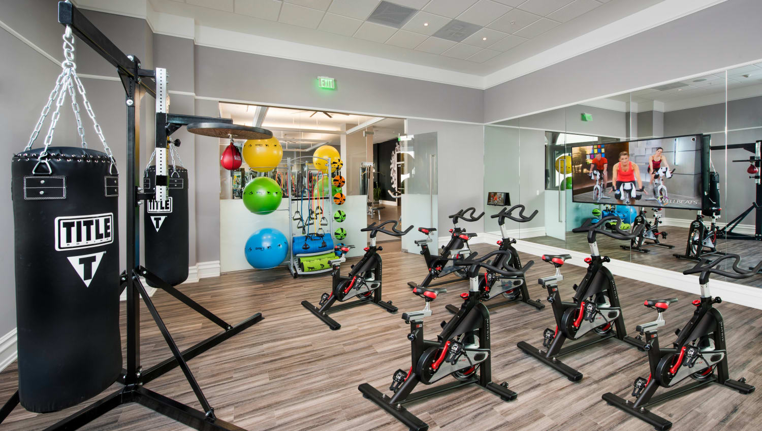 Spin class room in the fitness center at Olympus Harbour Island in Tampa, Florida