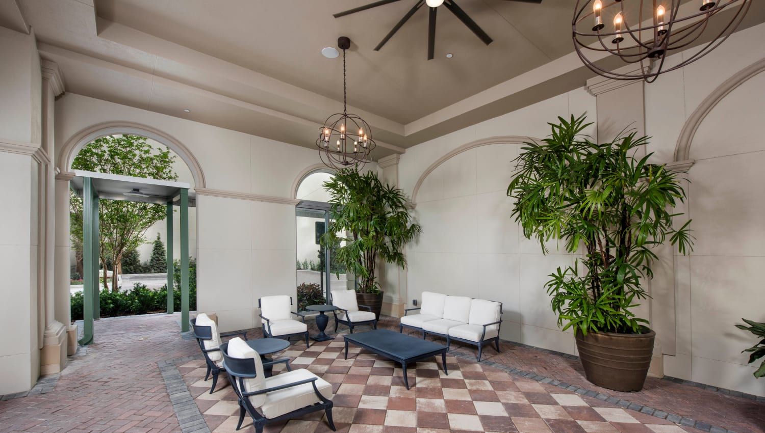 Luxuriously architected outdoor covered lounge area Olympus Harbour Island in Tampa, Florida