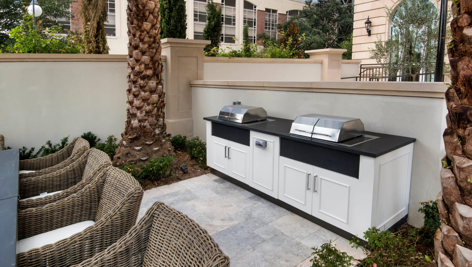 Barbecue area with gas grills at Olympus Harbour Island in Tampa, Florida