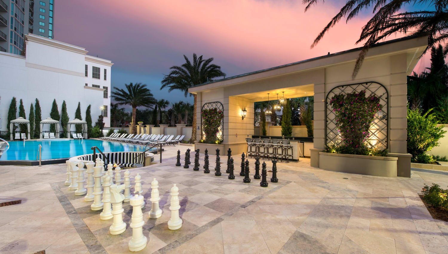 Twilight at the life-size chess board at Olympus Harbour Island in Tampa, Florida