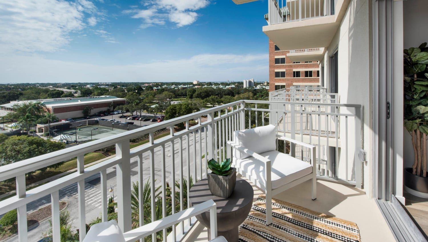 Private balcony with a terrific view outside a model home at Olympus Harbour Island in Tampa, Florida