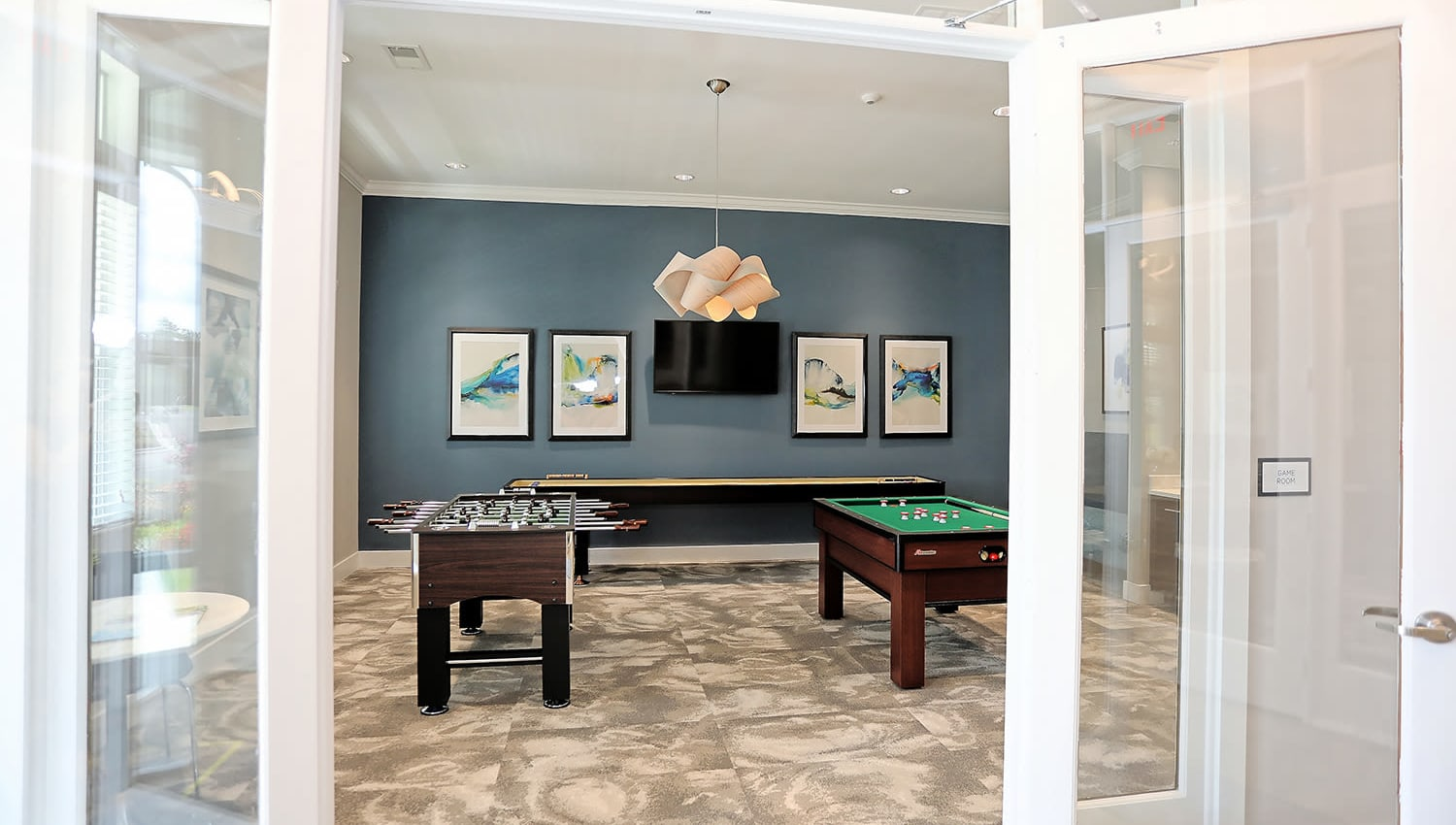 Game room in the clubhouse at The Slate in Savannah, Georgia