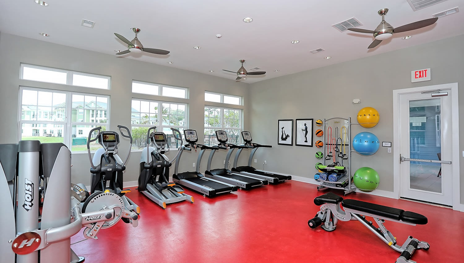 Well-equipped onsite fitness center at The Slate in Savannah, Georgia