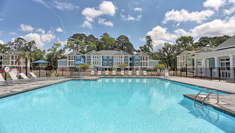 Inviting swimming pool at The Slate in Savannah, Georgia