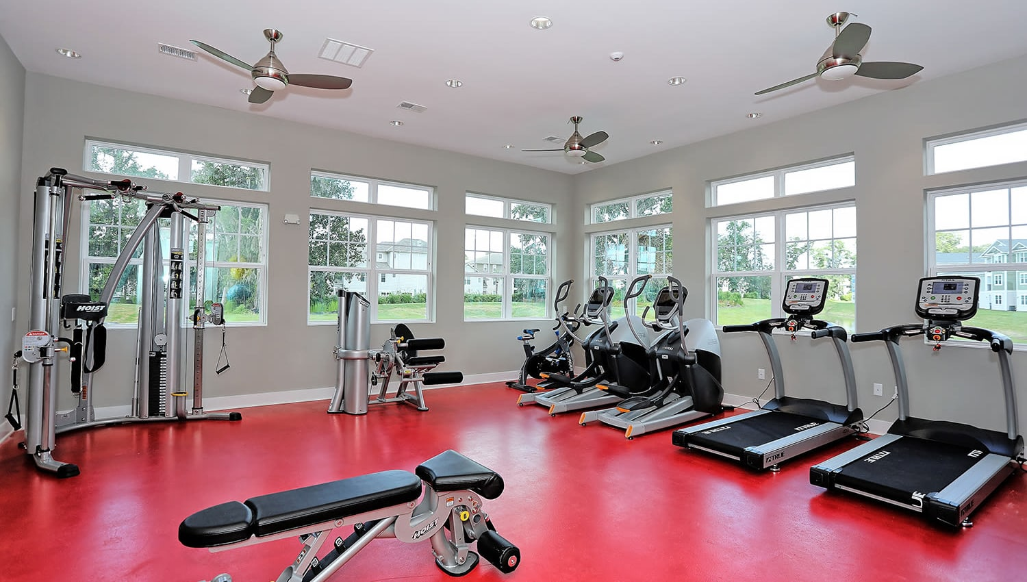 Treadmills and exercise machines in the fitness center at The Slate in Savannah, Georgia
