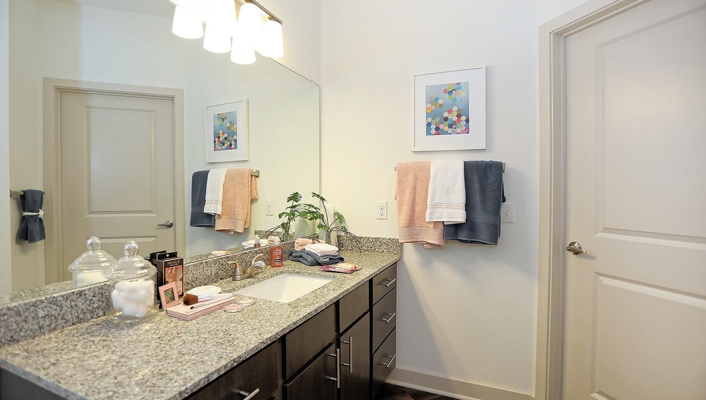 Granite countertop in a model home's bathroom at The Slate in Savannah, Georgia