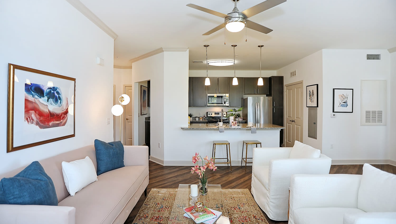 Ceiling fan in the living area of a model apartment at The Slate in Savannah, Georgia