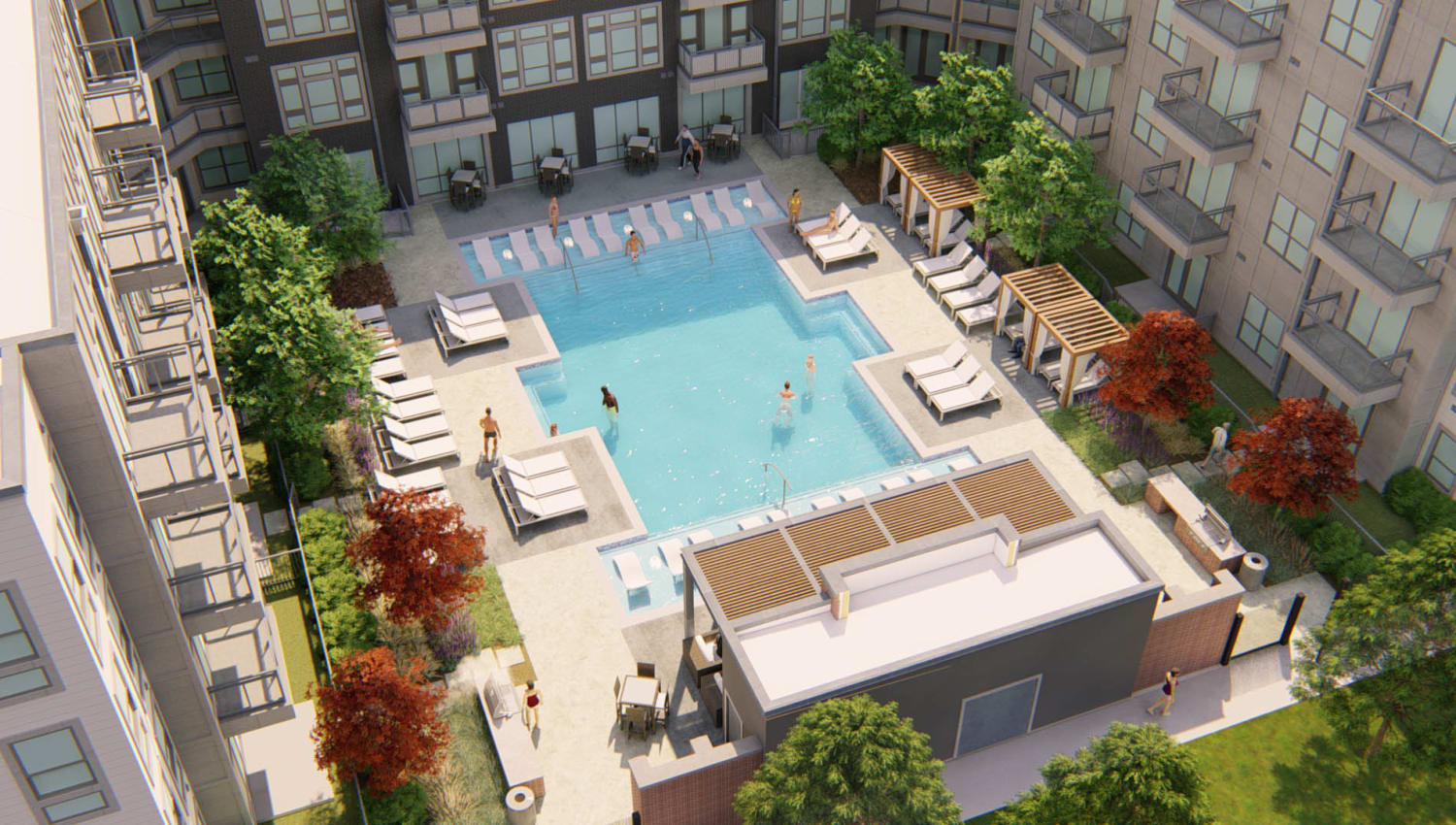 Aerial rendering of the resort-style swimming pool area at Olympus on Broadway in Carrollton, Texas