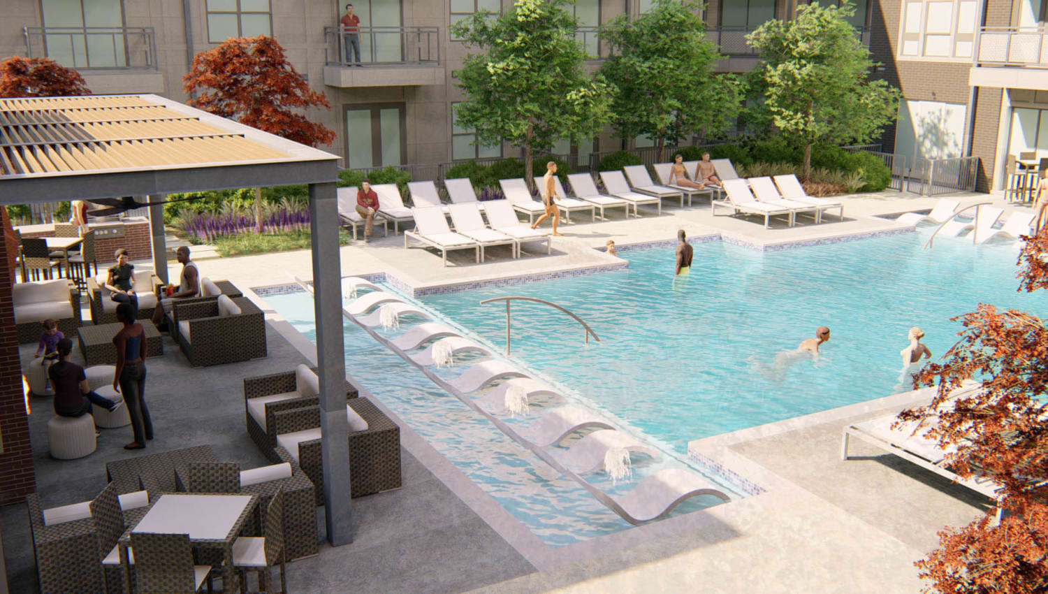Rendering of the swimming pool with in-pool sun deck at Olympus on Broadway in Carrollton, Texas