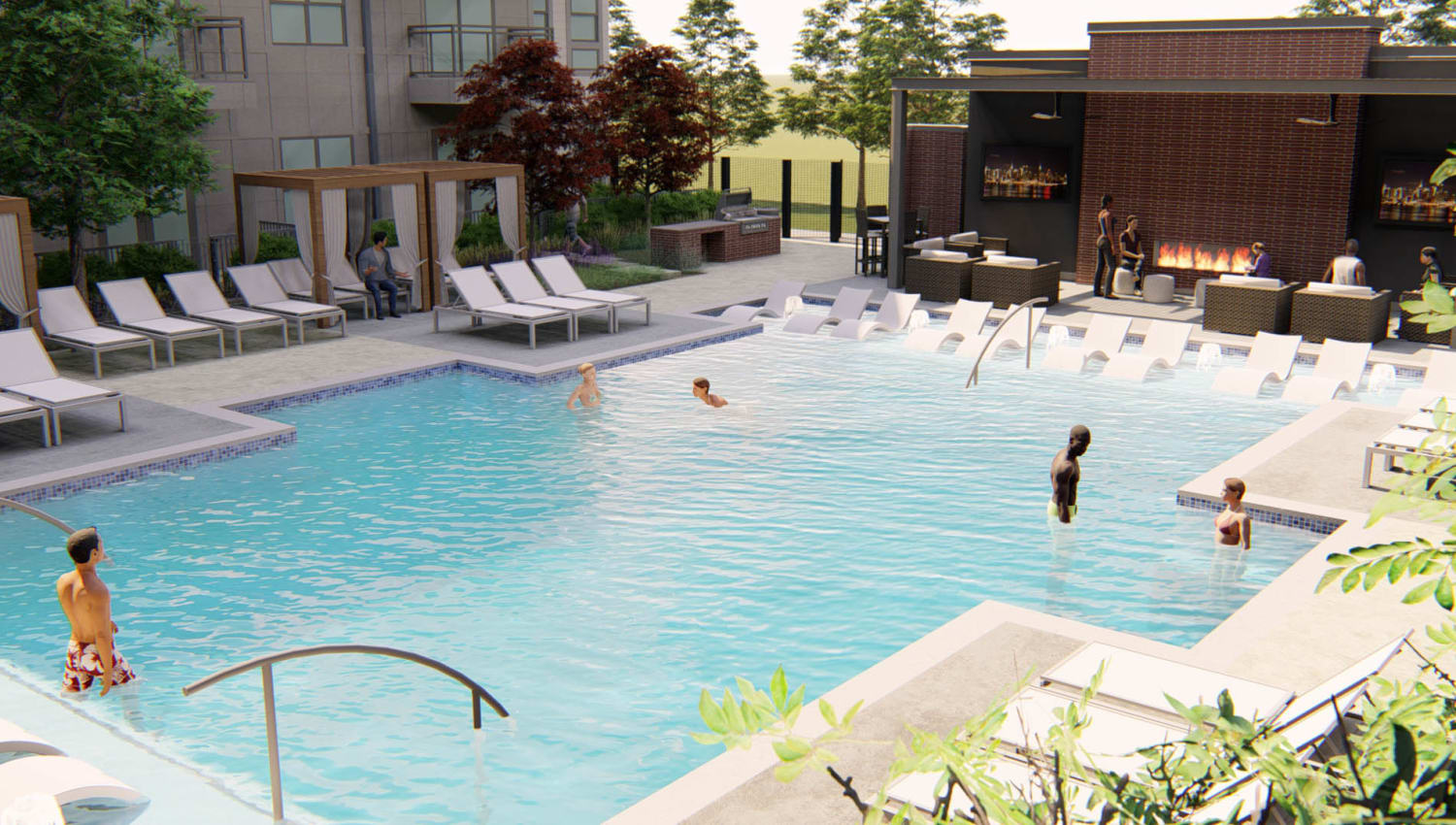 Rendering of the swimming pool and fire pit lounge area at Olympus on Broadway in Carrollton, Texas