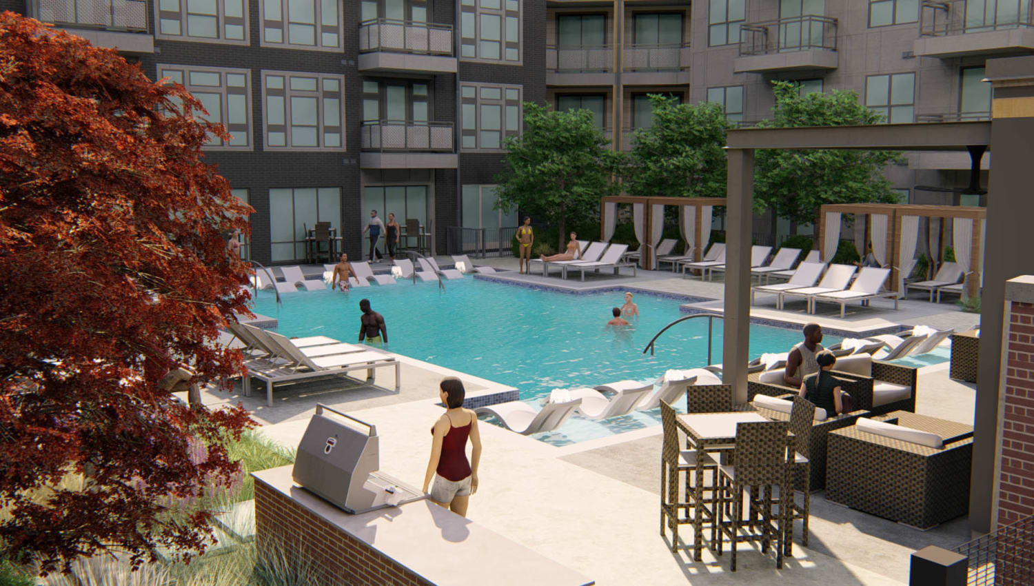 Rendering of the barbecue lounge area near the pool at Olympus on Broadway in Carrollton, Texas