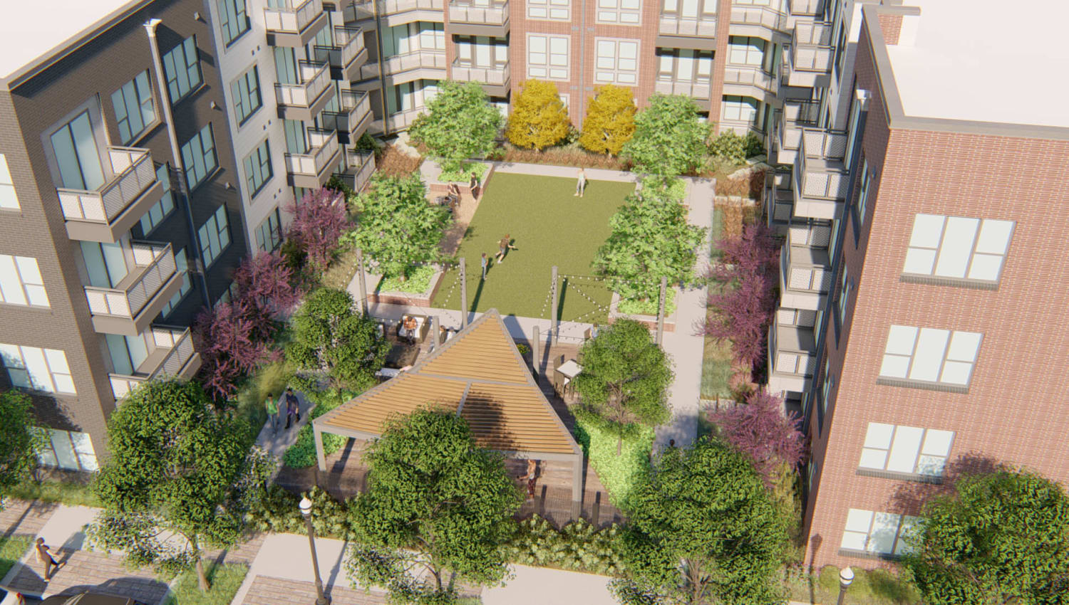 Aerial rendering of the exterior courtyard at Olympus on Broadway in Carrollton, Texas