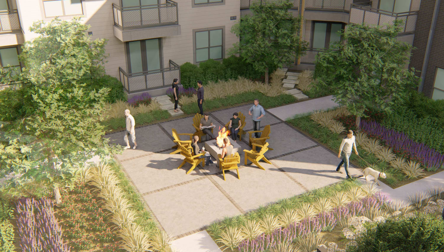 Rendering of the fire pit area surrounded by professionally maintained landscaping at Olympus on Broadway in Carrollton, Texas