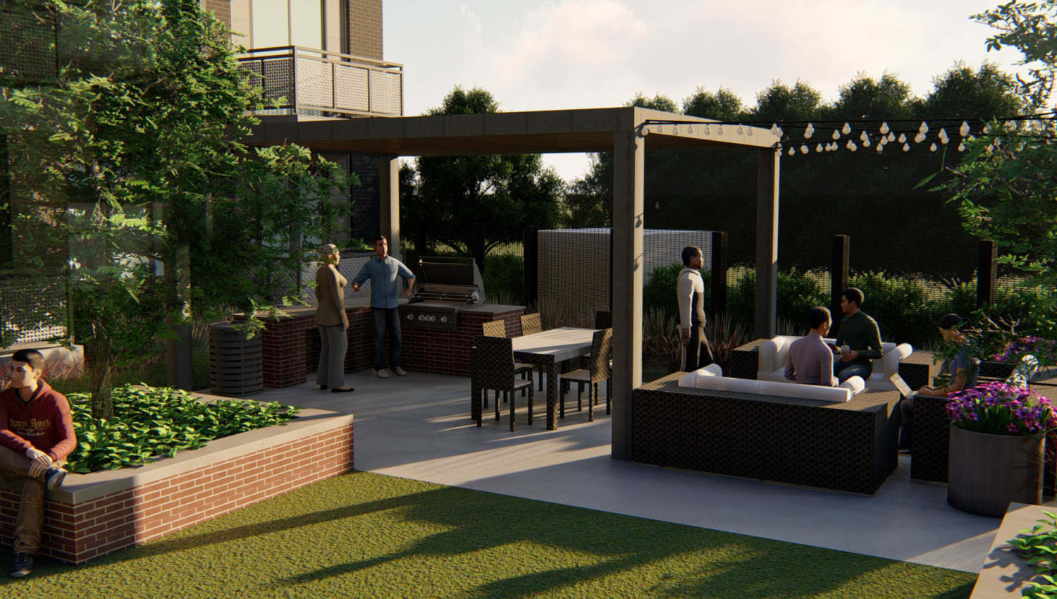 Rendering of an outdoor lounge area in the late afternoon at Olympus on Broadway in Carrollton, Texas