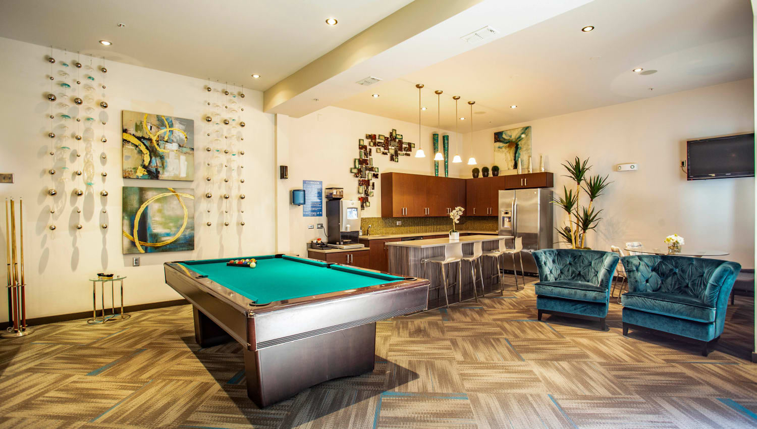 Billiards table and more in the resident clubhouse at Olympus Midtown in Nashville, Tennessee