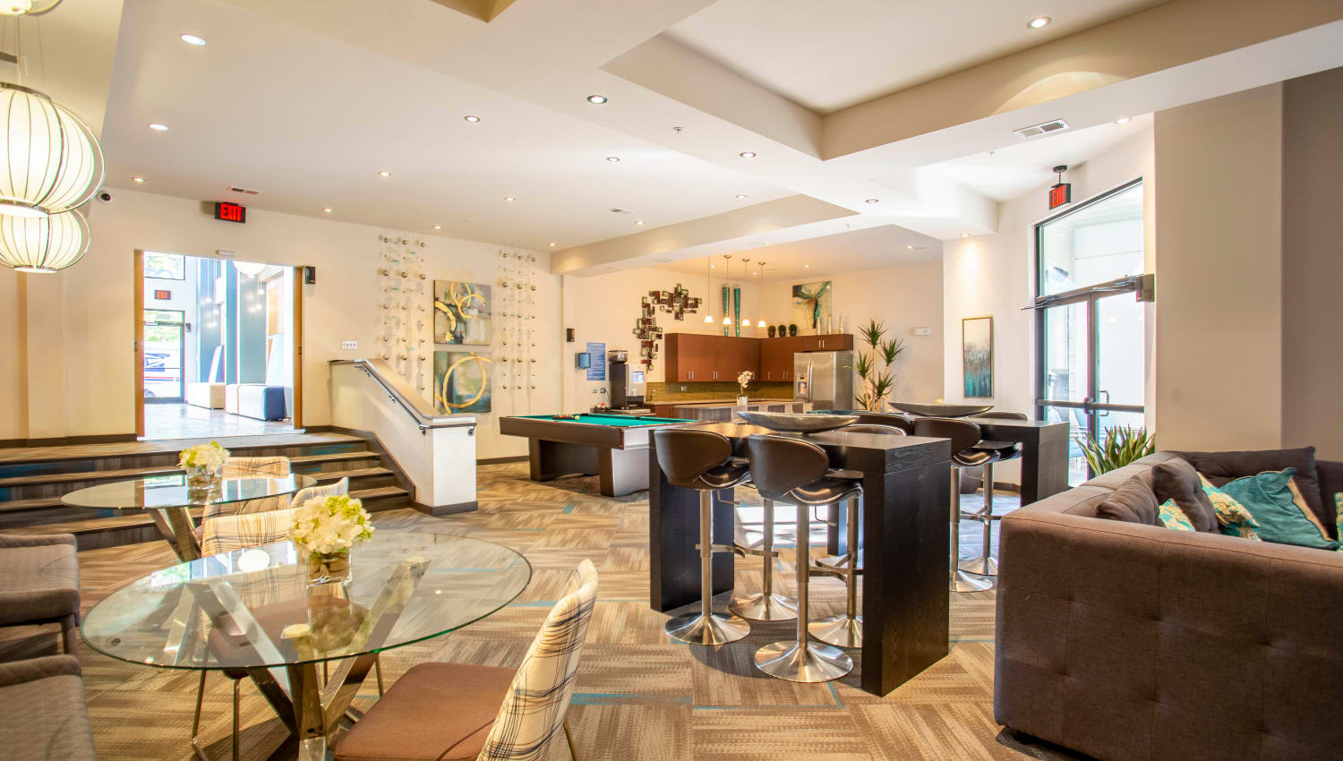 Lavishly decorated resident clubhouse at Olympus Midtown in Nashville, Tennessee