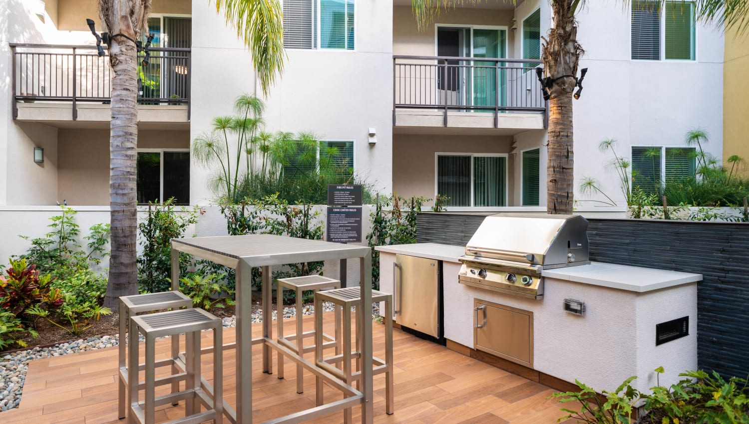 Gas grills at one of the barbecue areas at Fusion Apartments in Irvine, California