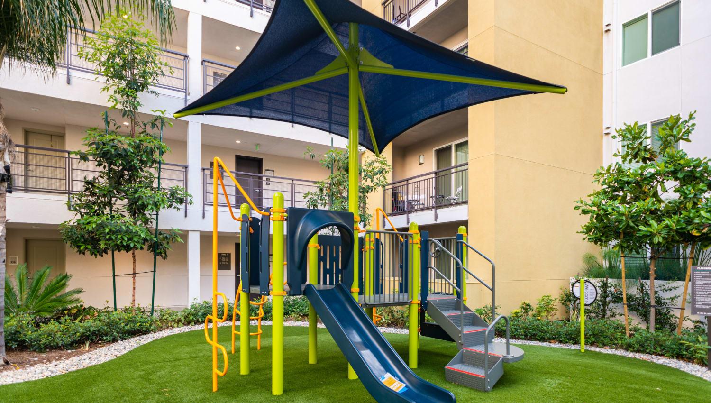 Onsite children's playground at Fusion Apartments in Irvine, California
