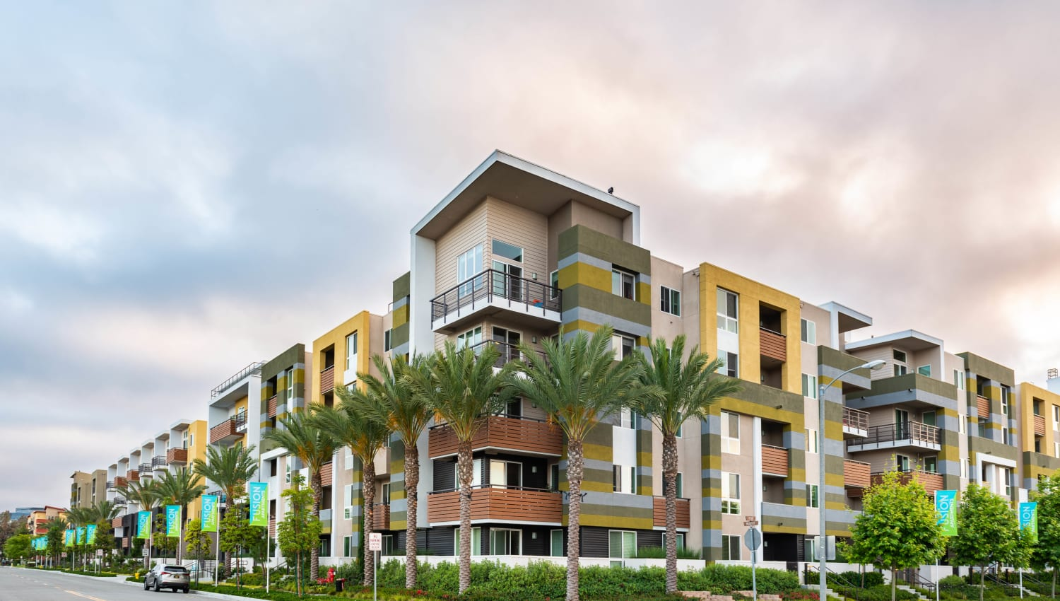 Exterior view of our luxury community at Fusion Apartments in Irvine, California