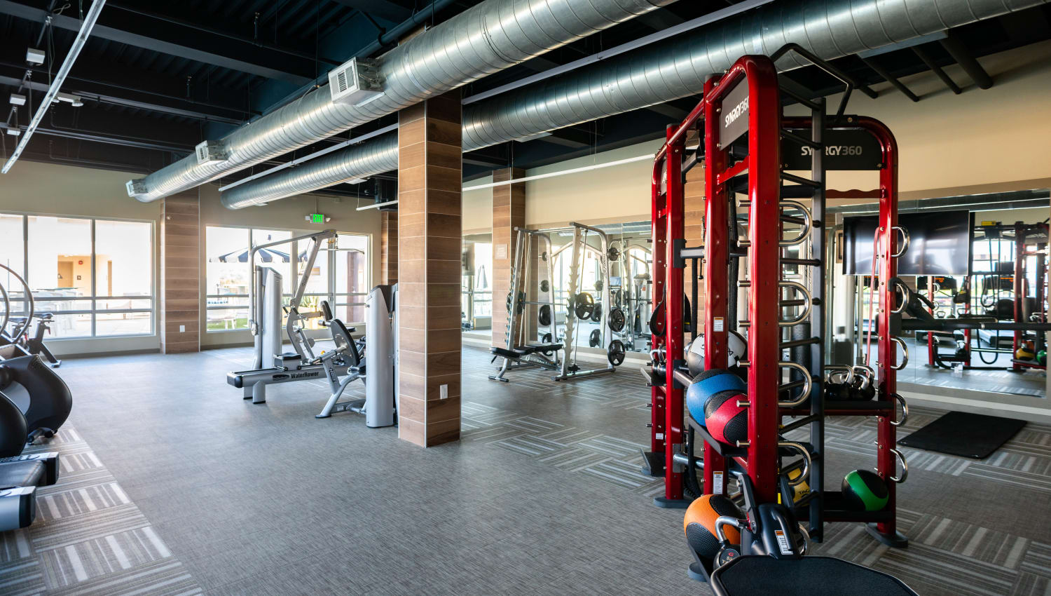 Spacious and very well-equipped onsite fitness center at Fusion Apartments in Irvine, California