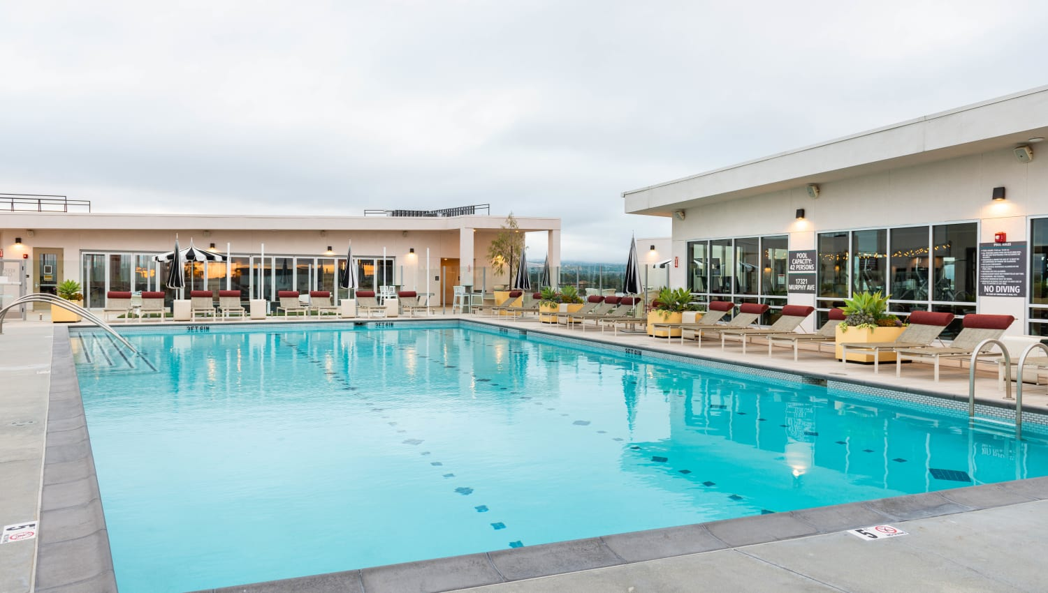Rooftop swimming pool at Fusion Apartments in Irvine, California