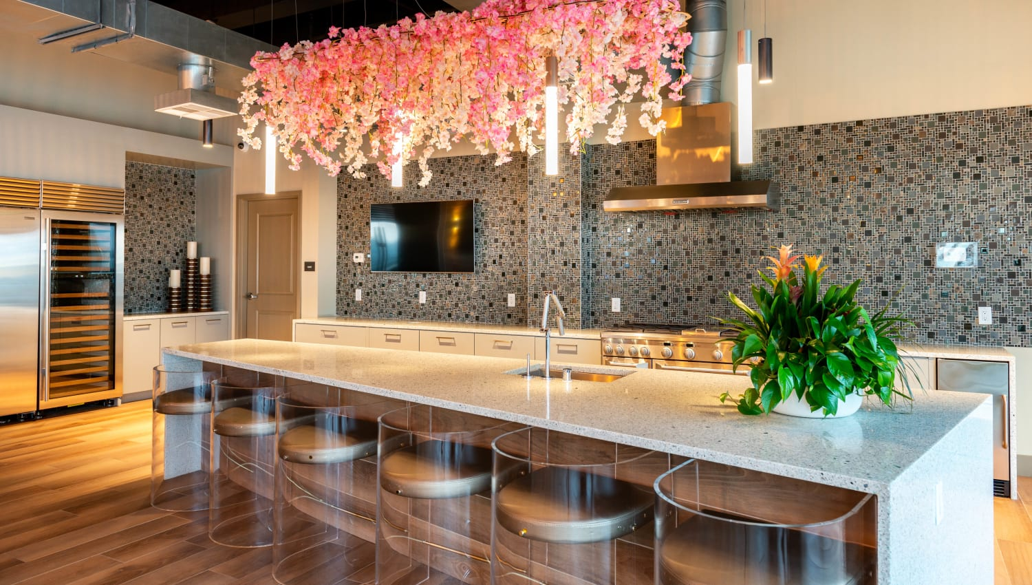 Bar seating in one of the resident lounge areas at Fusion Apartments in Irvine, California