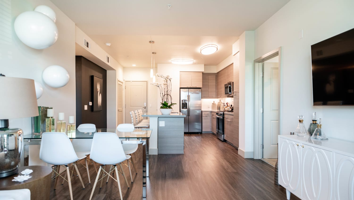 Spacious open-concept floor plan in a model home at Fusion Apartments in Irvine, California