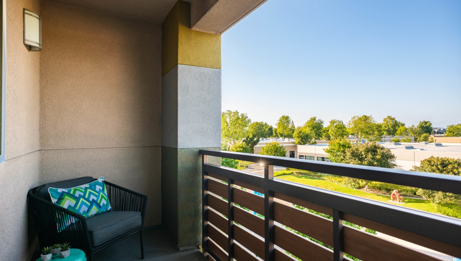 Terrific view of the area from a model home's private balcony at Fusion Apartments in Irvine, California