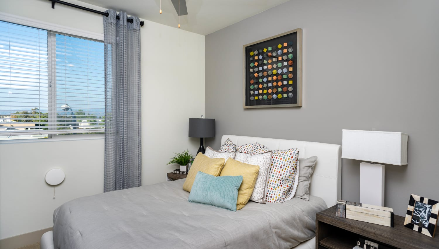 Accent wall in the guest bedroom of a model home at Fusion Apartments in Irvine, California