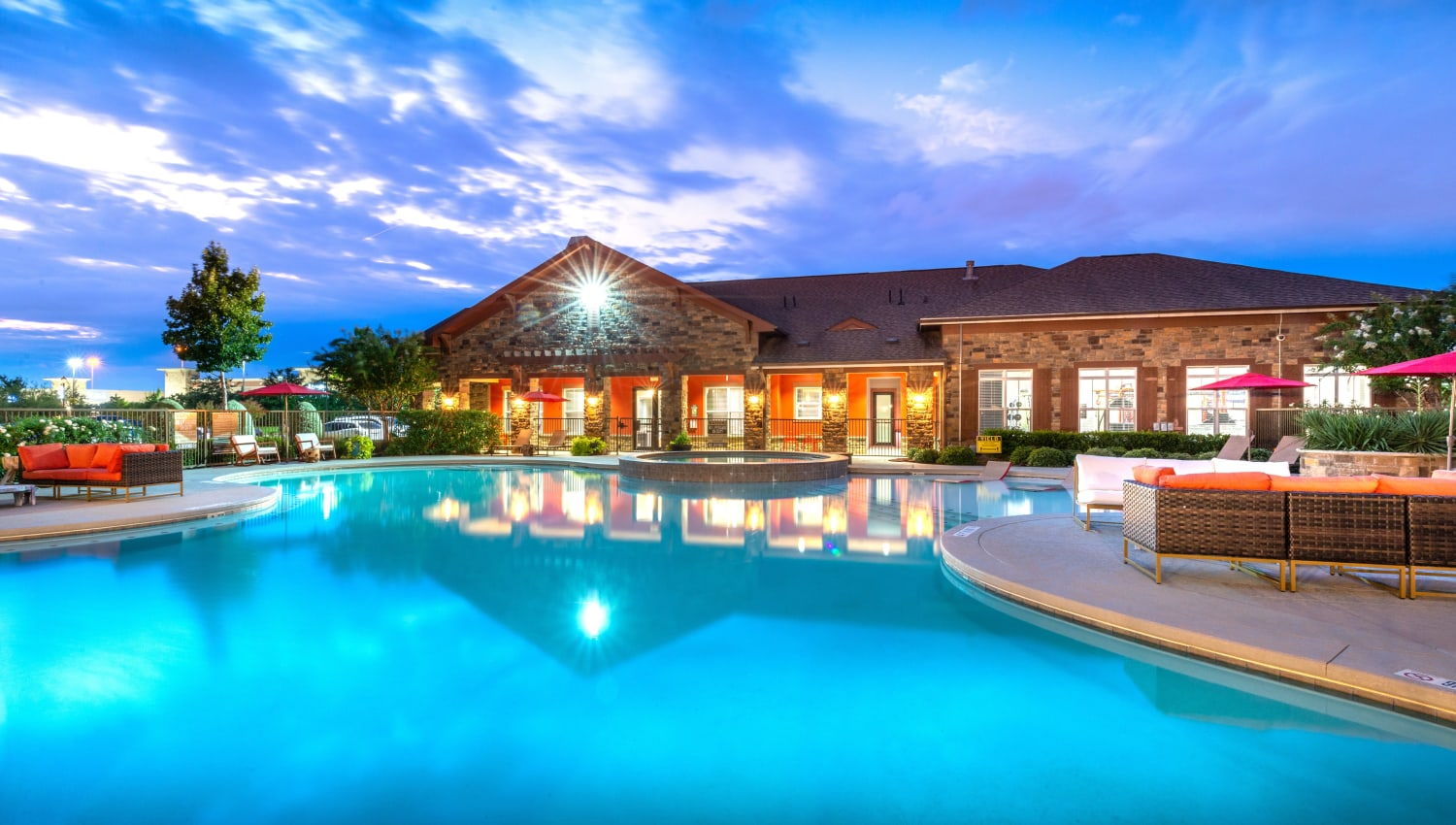 Spacious blue pool at Olympus Katy Ranch in Katy, TX