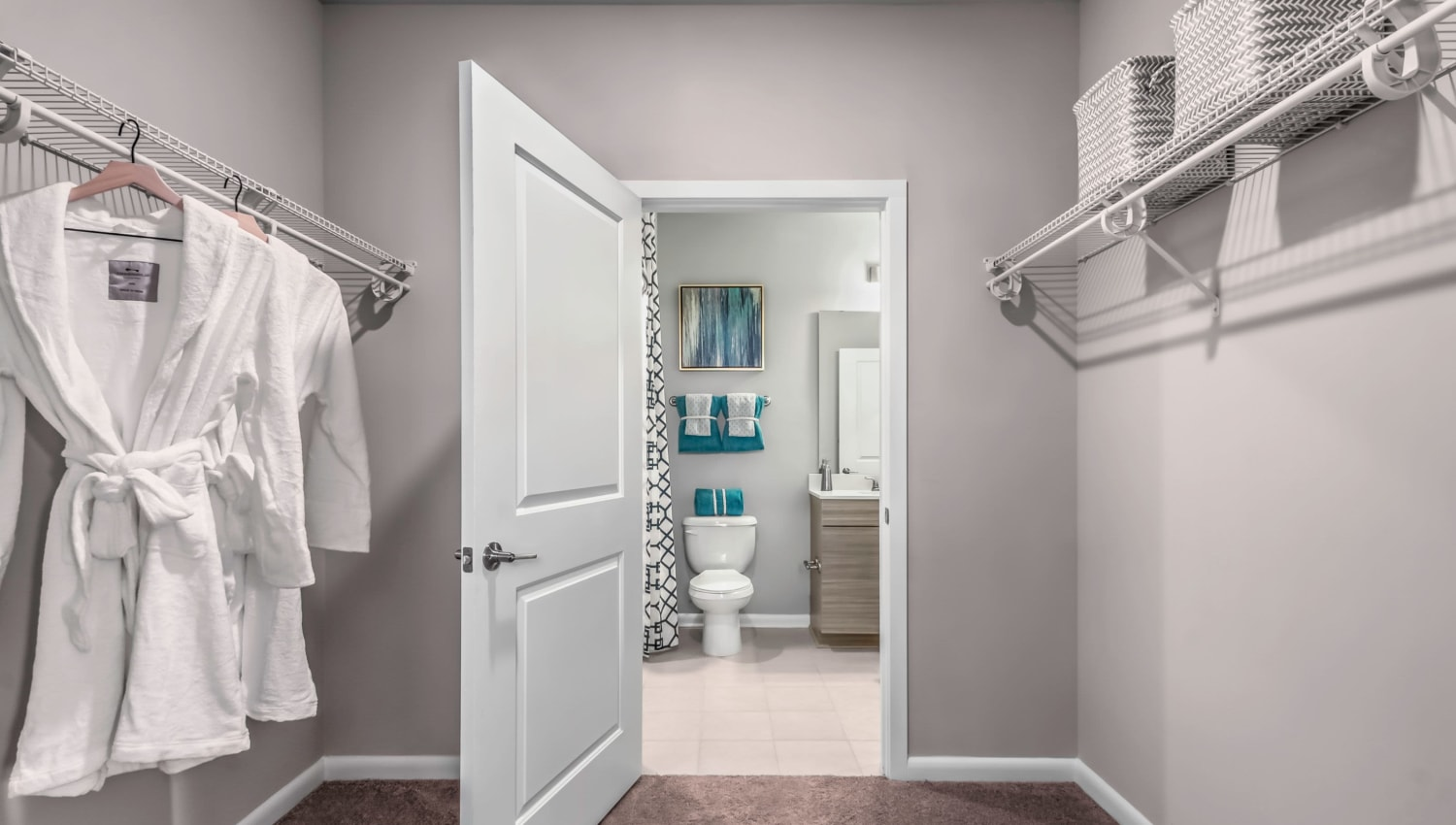 Large walk-in closet in the main bedroom at The Palmer in Charlotte, North Carolina