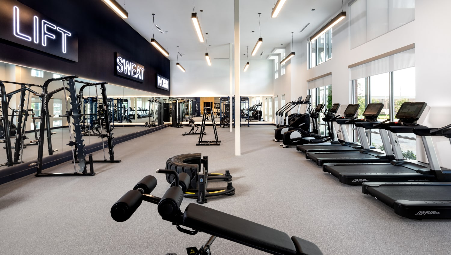 State of the art gym at Olympus on Broadway in Carrollton, TX