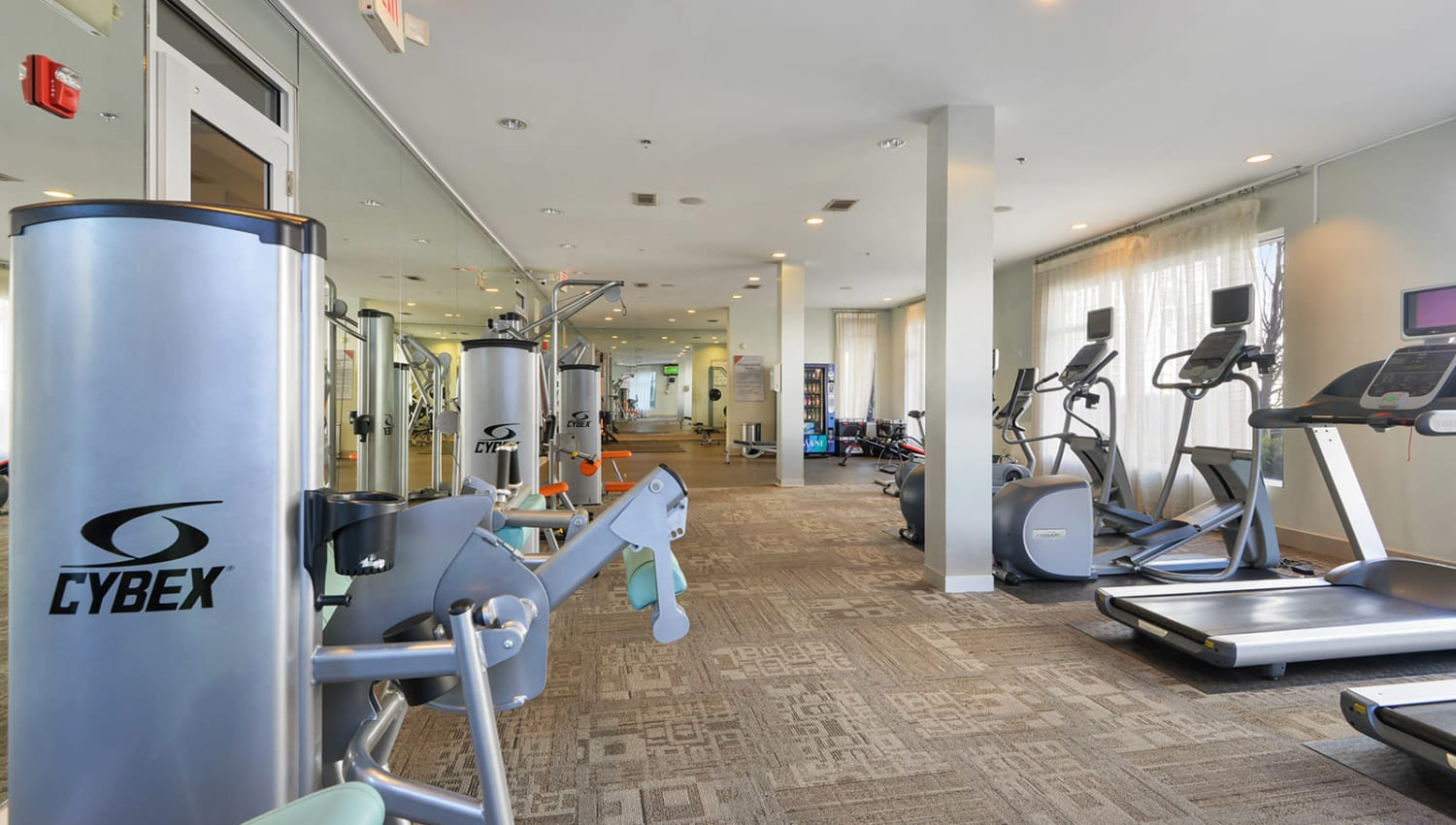Fully equipped fitness center at Optimist Lofts in Atlanta, Georgia
