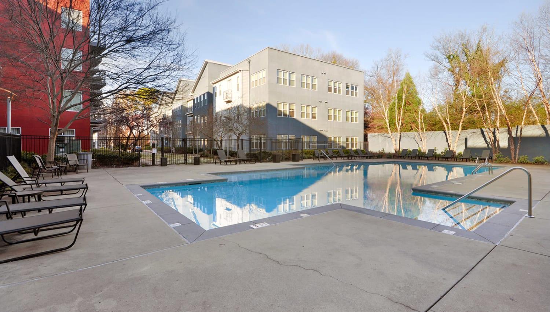 Resort-style swimming pool at Optimist Lofts in Atlanta, Georgia