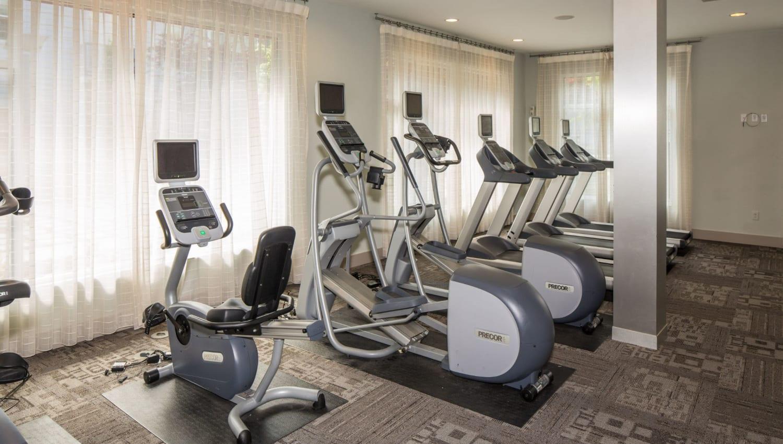 Cardio machines at Optimist Lofts's fitness center in Atlanta, Georgia