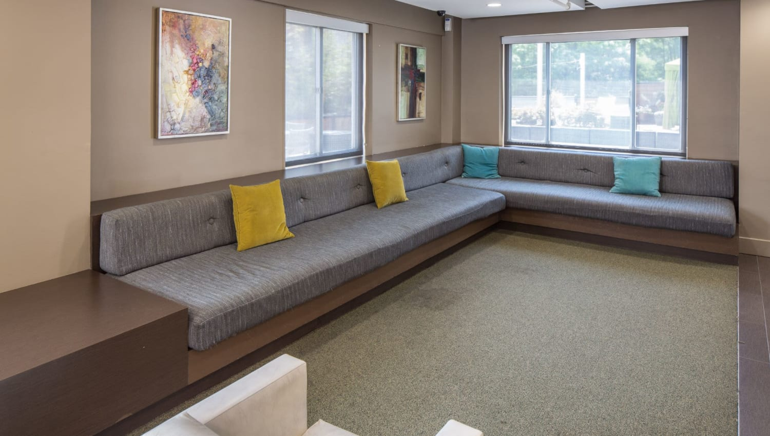 Large community couch at Solace on Peachtree in Atlanta, Georgia